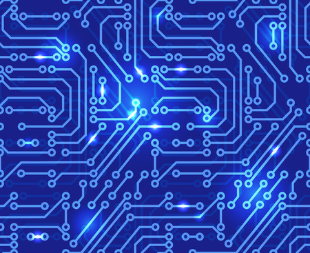 Circuit board background illustration of abstract motherboard. Seamless pattern.