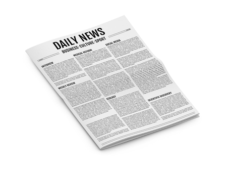 unfolded: Abstract newspaper isolated on white background. 3D illustration of tabloid. Isometric view
