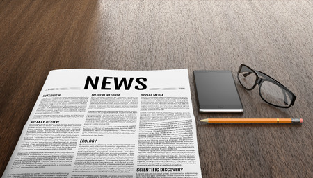 gazette: Morning newspapers on wooden table. Smart phone, glasses and pencil next to the tabloid. 3D illustration.