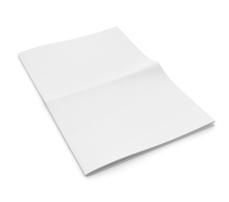 unfolded: Blank newspaper on white background. Template for publishing house. 3d illustration Stock Photo