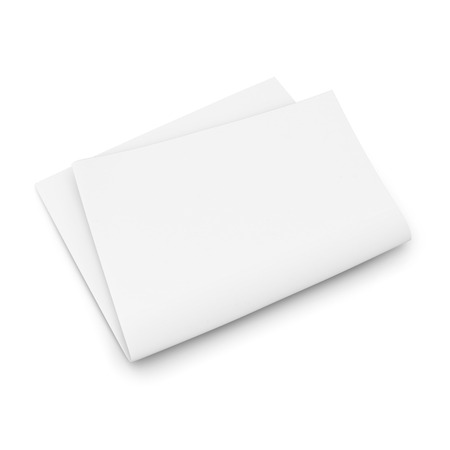 unfolded: Folded blank newspaper on white background. Template for publishing house. 3d illustration