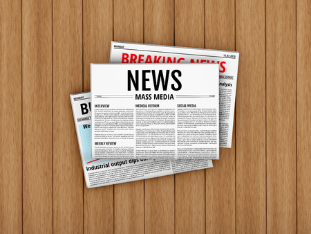 lay: Latest issue. Morning newspapers on wooden floor or table. 3D illustration of tabloid. Flat lay Stock Photo