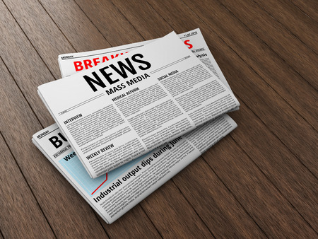 unfolded: Morning newspapers on wooden floor or table. 3D illustration of latest issue.