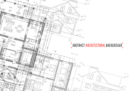documentation: Architectural drawings on white background. Vector illustration Illustration