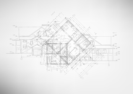 architectural drawings: Abstract architectural drawings on light background. Vector illustration