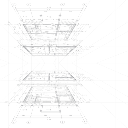documentation: Architectural blueprint on white background. Vector illustration.