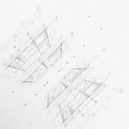 Architectural drawings on light background. Vector illustration Ilustração Vetorial