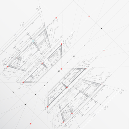 Disegni architettonici su sfondo chiaro. illustrazione di vettore Vettoriali
