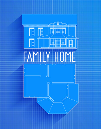 Blank blueprint paper for drafting drawing sheet layout with blueprint of family house design facade and plan technical drawing on blue background vector malvernweather Images