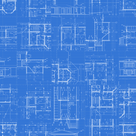 Architectural blueprints, set of technical drawings on blue background, seamless pattern. Vector illustration.