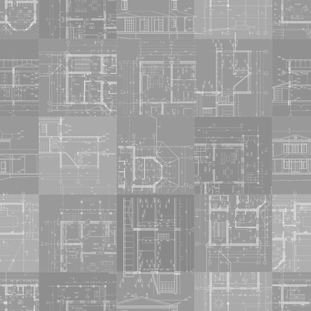 architectural drawings: Set of architectural drawings on gray background, seamless pattern. Vector illustration.