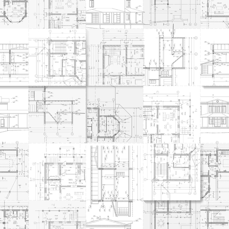 Architectural drawings, a set of facades and building plans, seamless pattern for wallpaper in construction style. Vector illustration on white background. Ilustração Vetorial