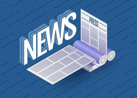 offset printing: The news word next to offset printing machine during production newspaper or magazine. Vector illustration.