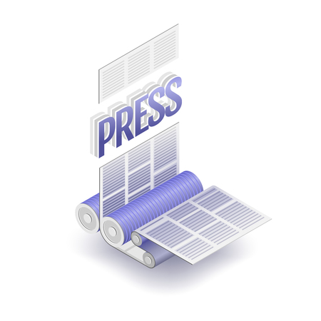 offset printing: The press word and part of printing press. Polygraphic process, vector illustration.