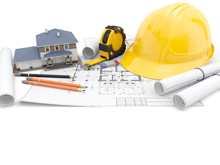 Tools of the architect or engineer and technical drawings on white background. 3D illustration.