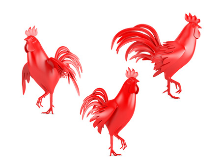 flamy: set of three red roosters isolated on white background