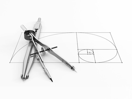 close-up of engineering or architectural divider and compass is in the center of the golden ratio on a white background. 3d illustration. Stock Photo