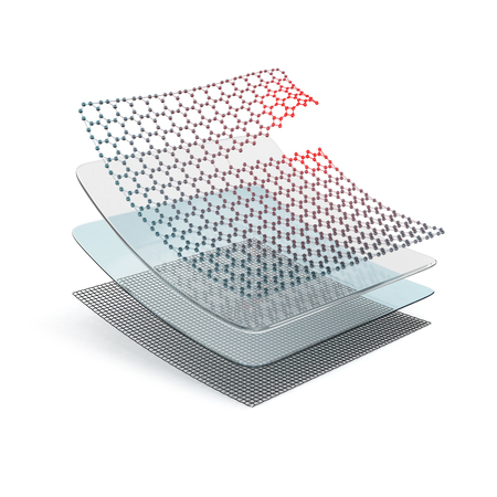 Several layers of composite self-healing material. 3D illustration isolated on white background.