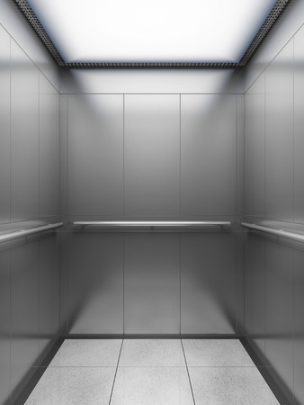 lift gate: Inside of empty elevator cabin. 3D illustration. Stock Photo