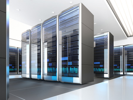 High tech interior of server room in datacenter. Concept of quantum super computer with artificial intelligence. 3D illustration.