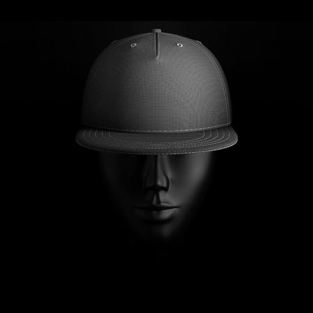 Blank black baseball cap on dummy head, mockup template on dark background, 3D illustration