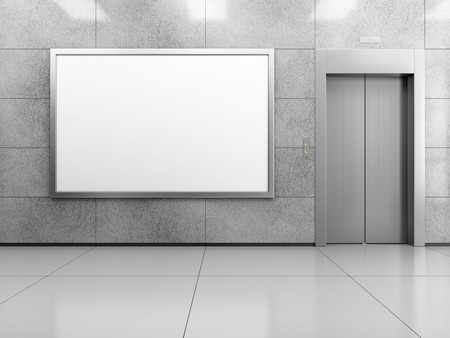 Blank horizontal billboard or poster in the elevator hall. 3D illustration of advertising surface.