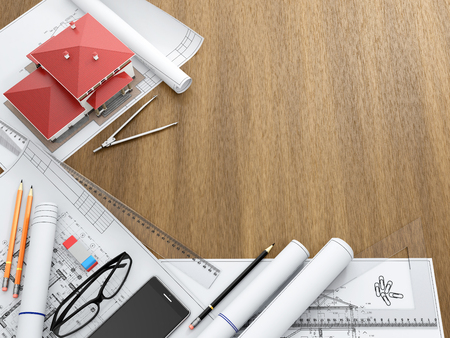 architectural drawings: Tools of the architect and architectural drawings on the desktop. Top view with copy space. 3D illustration.