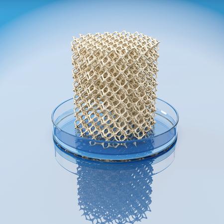 인간의 뼈의 bioprinting의 개념입니다. 의료 연구소에서 스폰지 구조와 페 트리 접시. 3D 그림입니다. 스톡 콘텐츠