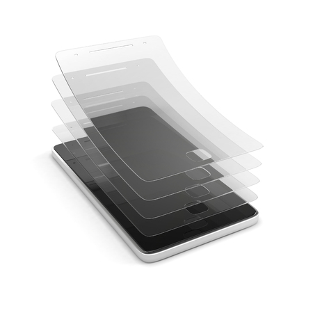 multi layered: Multi layered covering for screen protection. Anti-scratch glass or film on a smartphone. 3d illustration isolated on a white background.