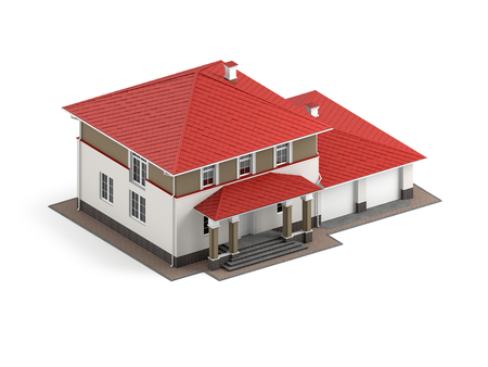 Traditional two-storey house with red roof and built-in garage isolated on white background. 3D illustration. Isometric view