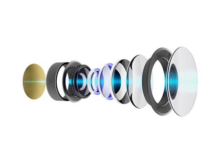 스마트 폰 또는 카메라에 대 한 현대 렌즈의 기술 3D 그림. 흰색 배경에 고립 된 장치의 내부 회로. 스톡 콘텐츠