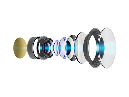 Technical 3D illustration of modern lens for smartphone or camera. An internal circuit of the device isolated on white background.