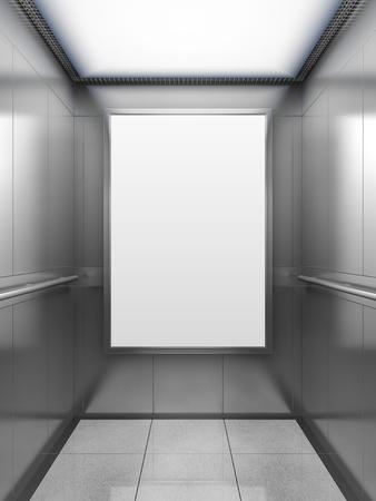 mocked: Blank billboard or poster inside of empty elevator cabin. 3D illustration.