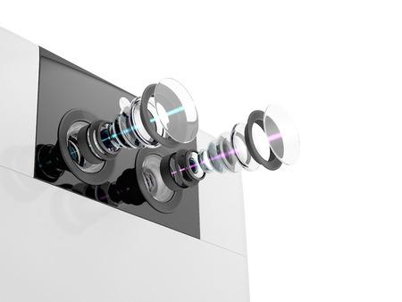 スマート フォンのための現代のデュアル カメラ システムの技術的な 3 D イラスト。白い背景に分離されたデバイスの内部回路。