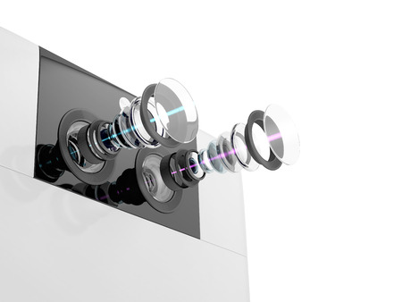 스마트 폰 현대 듀얼 카메라 시스템의 기술 3D 그림. 흰색 배경에 고립 된 장치의 내부 회로. 스톡 콘텐츠