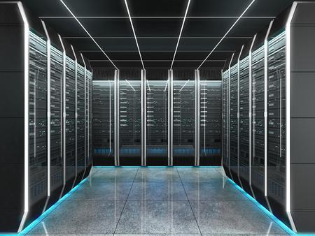데이터 센터에 서버 룸의 미래 인테리어입니다. 인공 지능을 갖춘 양자 슈퍼 컴퓨터의 개념. 3D 그림입니다.