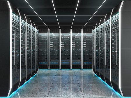 Futuristic interior of server room in data center. Concept of quantum super computer with artificial intelligence. 3D illustration.