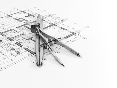 Engineering or architectural concept. Close-up of divider and compass on a drawing. 3d illustration. Stock Photo