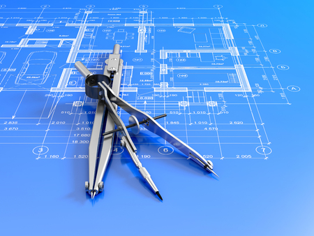 descriptive: Engineering or architectural concept. Close-up of divider and compass on a blueprint. 3d illustration.