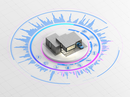 features: Concept of smart home or internet of things. Scale model of contemporary house on the interactive display with infographic elements. 3D illustration on white background. Stock Photo