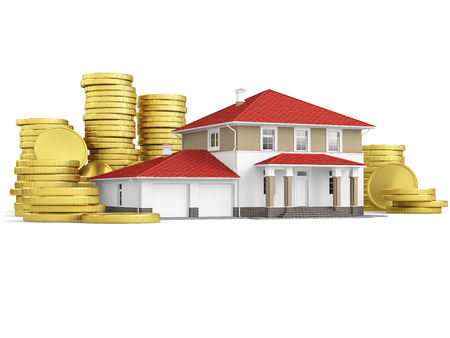 Mortgage concept with scale model house and stacks of coins. 3D illustration isolated on white background.