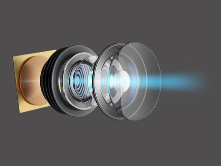 스마트 폰 또는 카메라에 대 한 현대 렌즈의 기술 3D 그림. 장치의 내부 회로. 스톡 콘텐츠