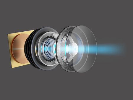 Technical 3D illustration of modern lens for smartphone or camera. An internal circuit of the device.