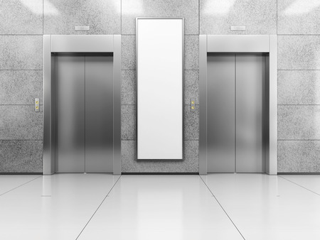 mocked: Blank vertical billboard or poster in the elevator hall. 3D illustration of advertising surface.