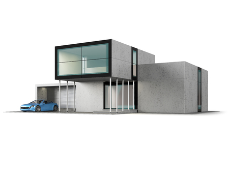 Concept of contemporary house with garage. Modern building of glass and concrete. 3D illustration isolated on white.