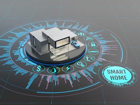 Concept van smart home of internet of things technologie. Schaalmodel van moderne woning op de interactieve display met infographic elementen. 3D illustratie op een donkere achtergrond.