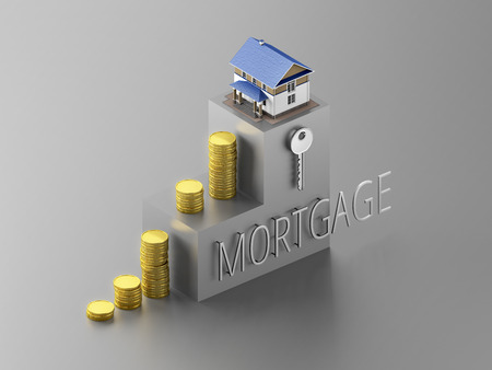 Coins stacked in the form of steps with house on the top. 3D illustration concept of mortgage. Stock Photo