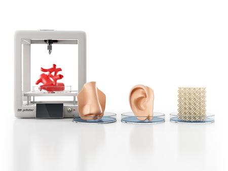 Concept van bioprinting van weefsels en organen op witte achtergrond. 3D illustratie. Stockfoto