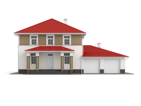 Traditional two-storey house with red roof and built-in garage isolated on white background. 3D illustration. Front view