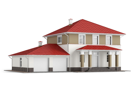 Traditional two-storey house with red roof and built-in garage isolated on white background. 3D illustration 版權商用圖片
